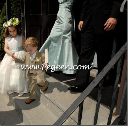 Flower girl dress in bisque and soft aqua silk called Bay