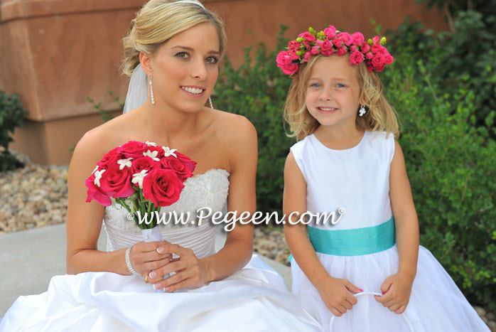 antique white and tiffany blue flower girl dress