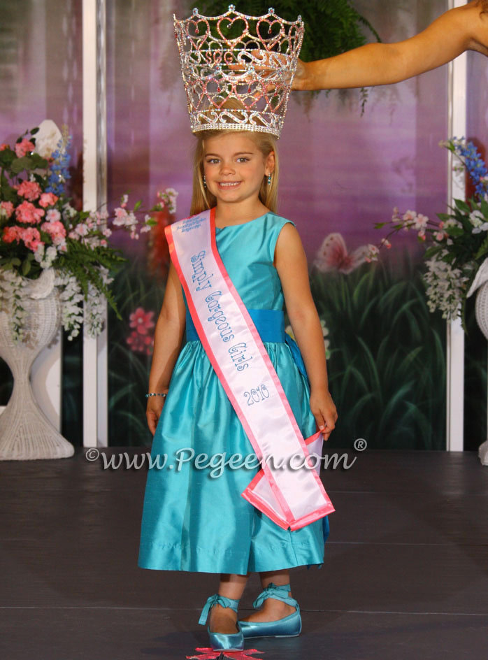 oceanic teal and turquoise pageant dress