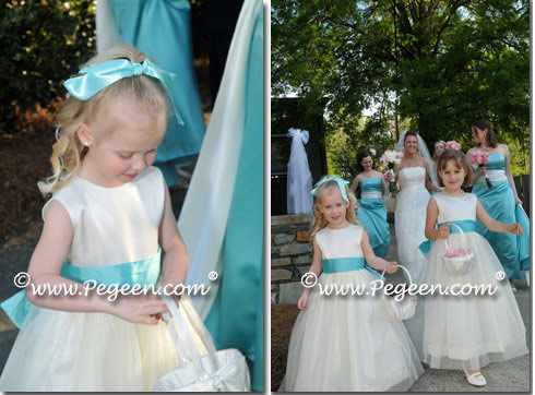 Tiffany blue and ivory flower girl dresses with Tulle - Pegeen Classic Style 394