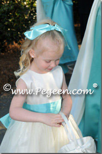 pond blue and new ivory tulle FLOWER GIRL DRESSES