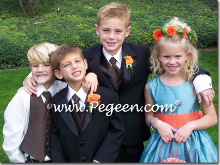 Adriatic blue and orange flower girl dresses