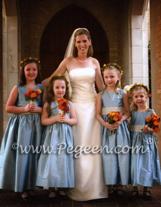 Flower girl dresses Style 398 Ivory and Caribbean Blue | Pegeen