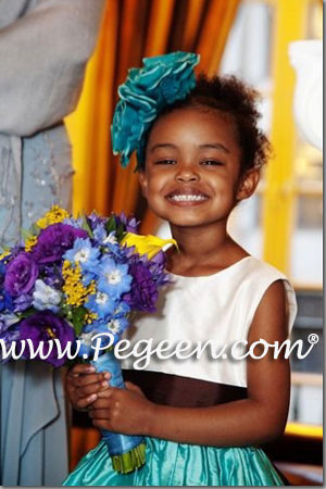 Tiffany blue and chocolate brown Classic Flower Girl Dress Style 398