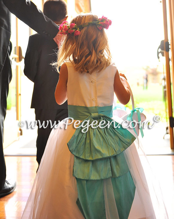Antique white and tiffany blue tulle flower girl dresses
