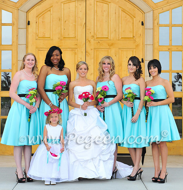 TIFFANY BLUE ORGANZA AND SILK FLOWER GIRL DRESSES - PEGEEN STYLE 394