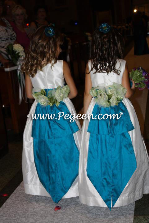 Mosaic Teal with Antiqe White FLOWER GIRL DRESSES