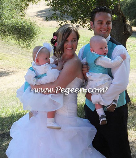 Infant flower girl dresses with matching ring bearer suit