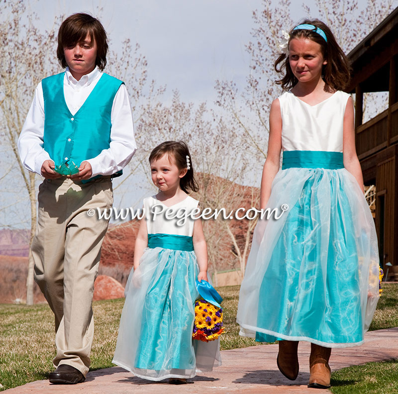 Antique White & Turquoise Organza and Silk flower girl dresses
