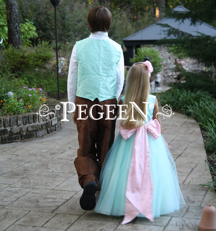 FLOWER GIRL DRESSES in hibiscus and tiffany blue