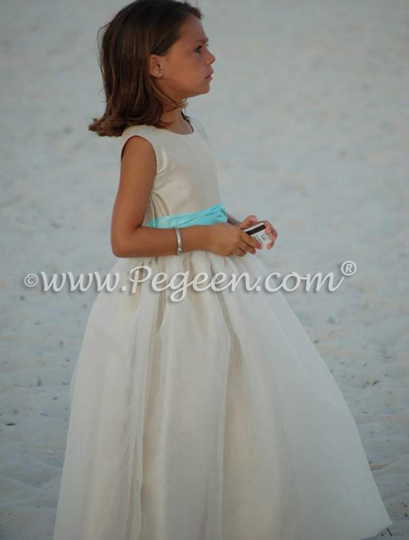 FLOWER GIRL DRESSES in summer tan and pond blue