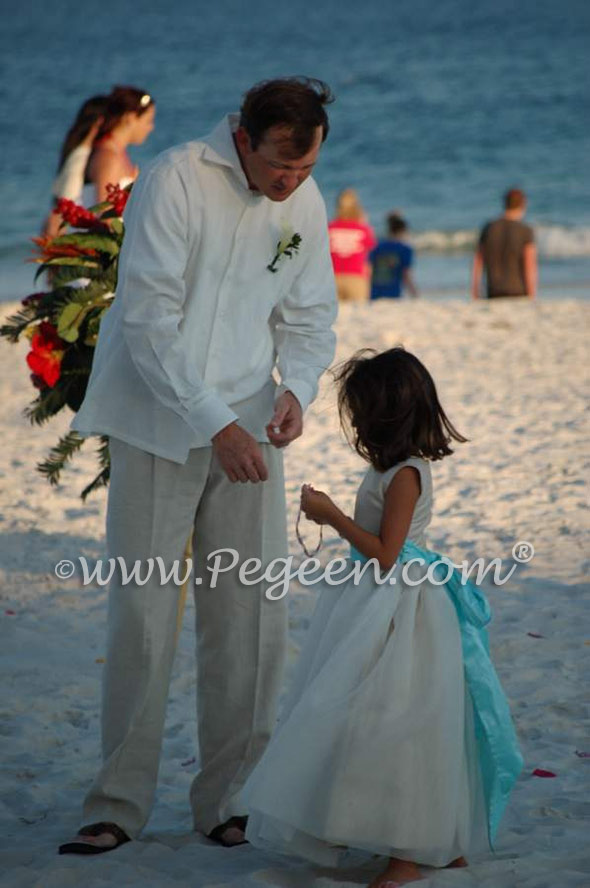 FLOWER GIRL DRESSES in new ivory and tiffany blue