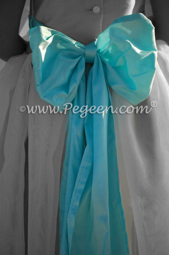 Pegeen Style 326 FLOWER GIRL DRESSES in new ivory and tiffany blue