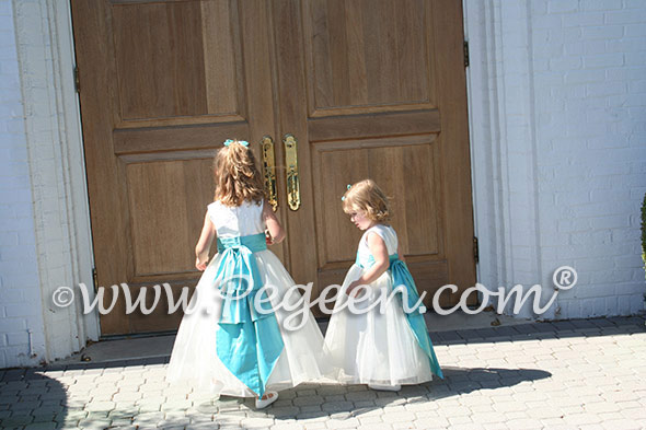 Pegeen Style 394 FLOWER GIRL DRESSES in new ivory and tiffany blue
