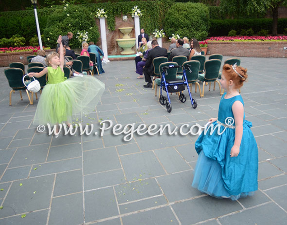 Pegeen Couture Style 603 flower girl dresses in Mosaic (teal) and apple green tulle