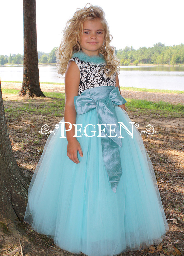 FLOWER GIRL DRESSES in black and white damask and tiffany blue