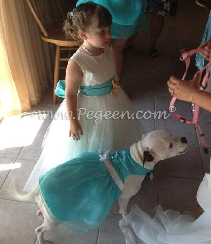 Antique White and Bahama Breeze (tiffany) Custom Silk Flower Girl Dresses with Sea Shell Trim by Pegeen Classics style 333