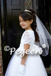 White First Communion Dress - Featured Flower Girl Dress with Aloncon Lace