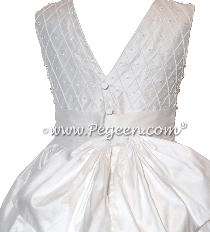 White Silk First Communion Dress with Swarovski Crystals