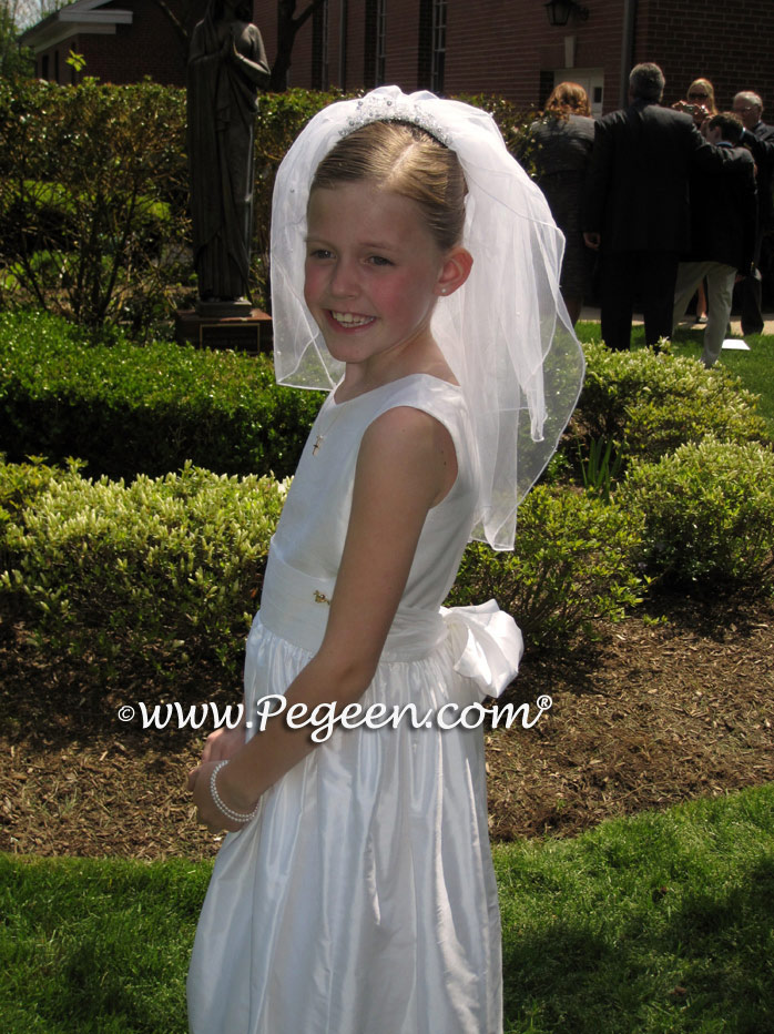 Pegeen style 318 white silk first communion dresses