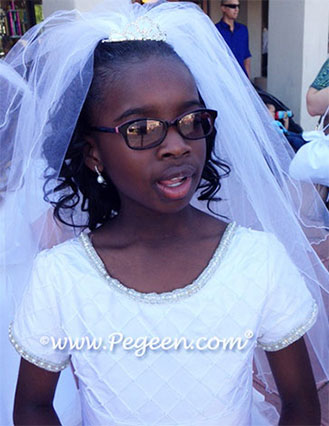 Silk, Tulle and Organza First Holy Communion Style 993 - Pegeen Heavenly Whites Creation