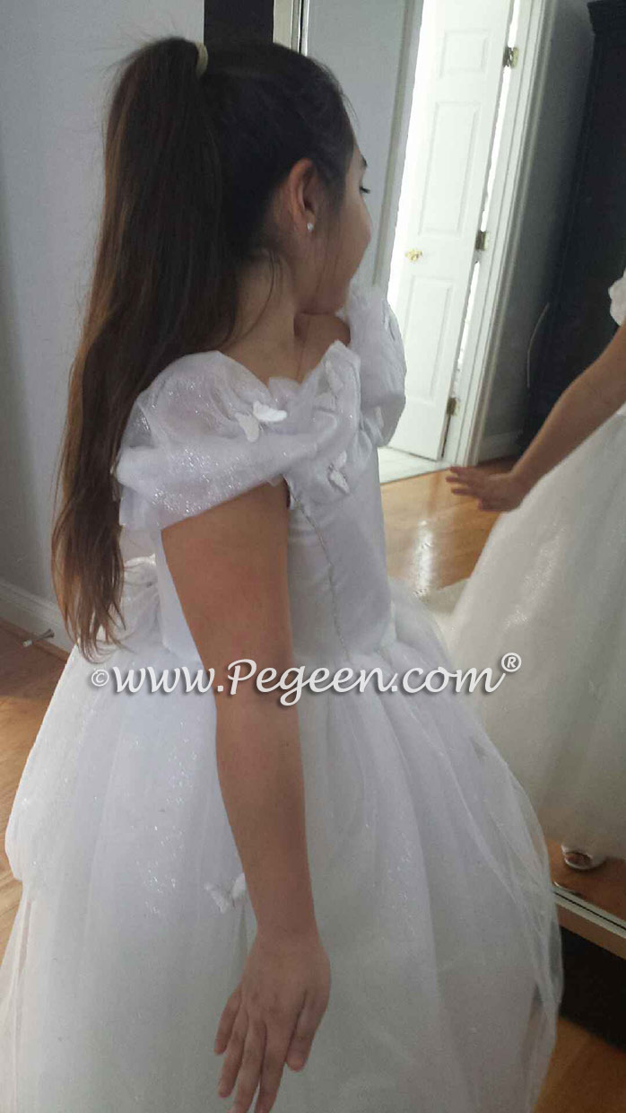 White Cinderella Princess Flower Girl Dresses - The Glass Slipper Fairy