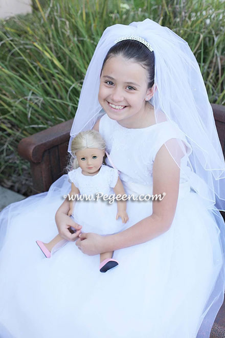 Pegeen Heavenly Whites Collection Style 965 in antique white ABOVE with matching American Doll dress