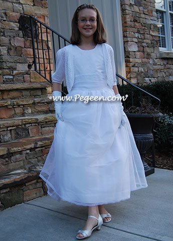White Cotillion Dress with sequined bodice - Pegeen style 315