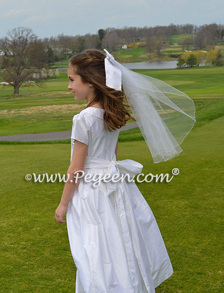 Antique White silk First Communion style dresses trimmed Peter Pan Collar