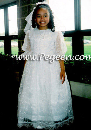 Communion Dresses with Embroidered Organza