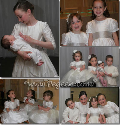 White and Platinum - Couture Flower Girl Dress by Pegeen Style 403