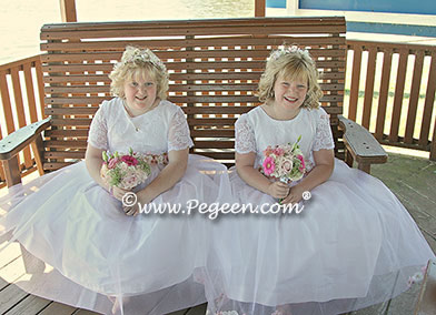 White lace and tulle silk flower girl dresses with petals