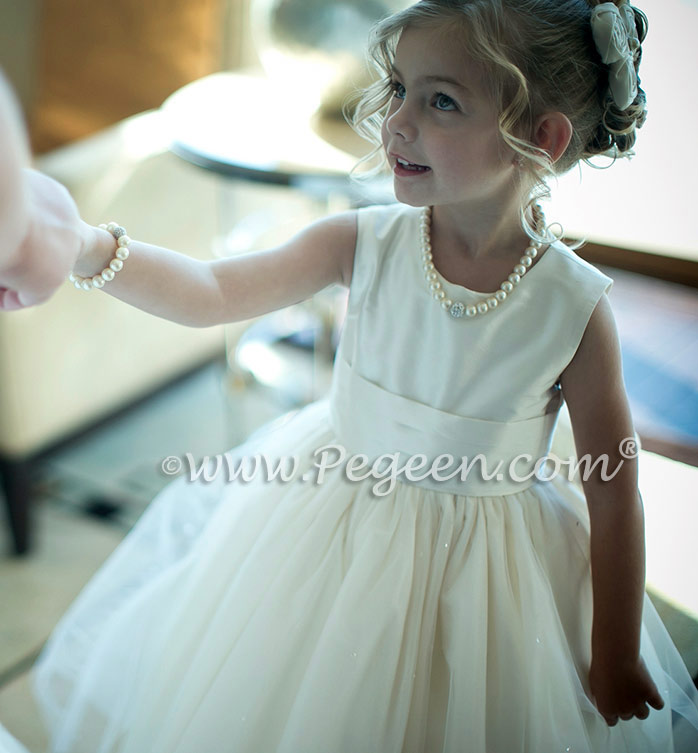Flower girl dresses 402 ivory tulle and silk