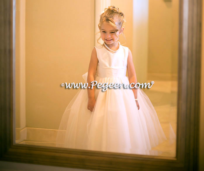 White and silk ivory and tulle flower girl dresses
