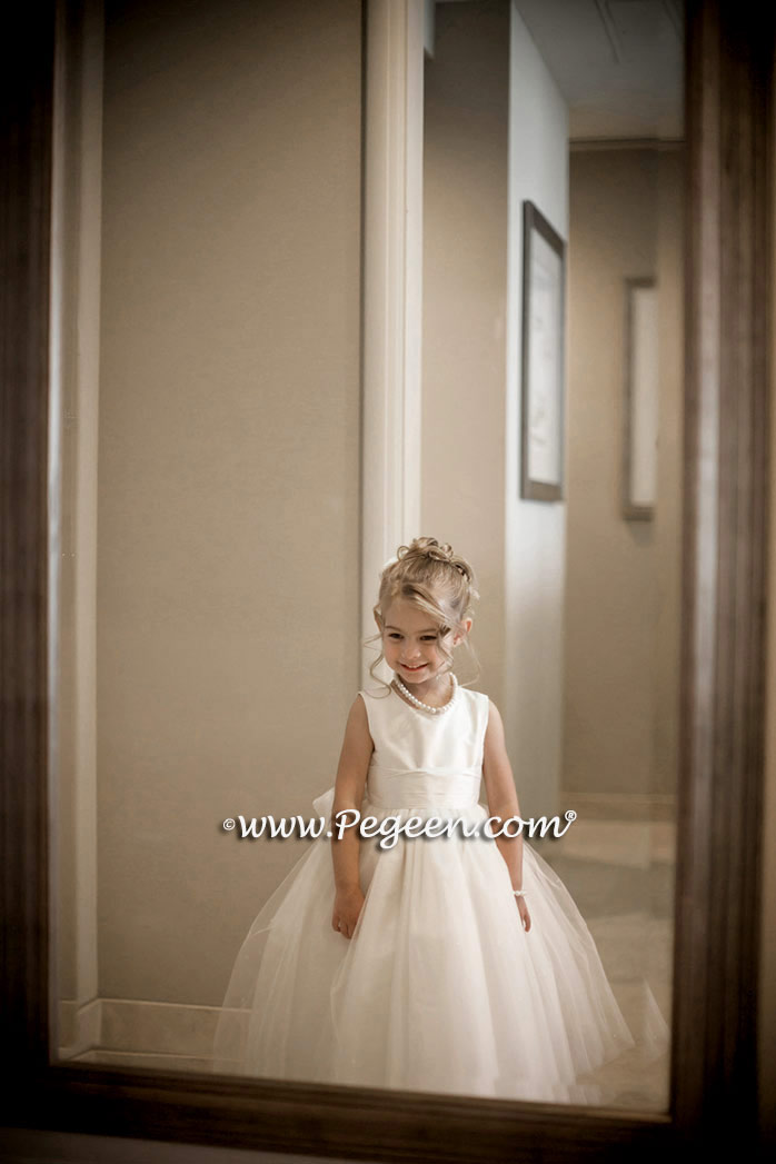 Antique White Dew Drop and Crystal tulle flower girl dress