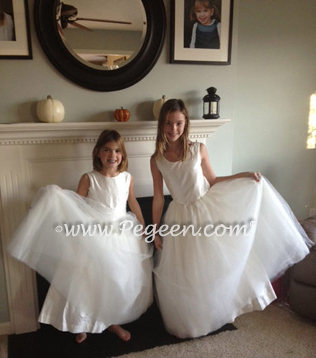 White Silk and Tulle Flower Girl Dresses by Pegeen Classics style 356