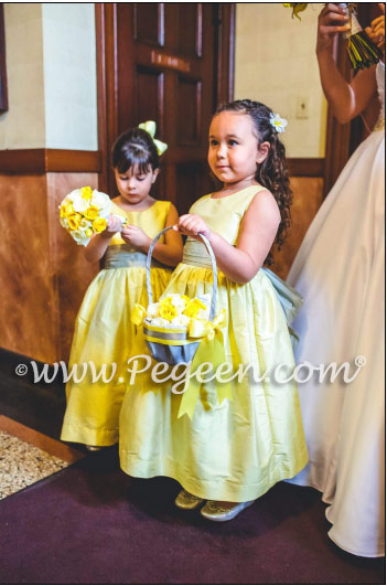 Sunflower and silver flower girl dress