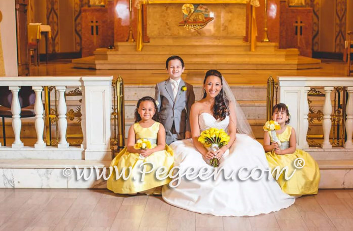 Yellow and Gray Silk Flower Girl Dresses of the Month - Pegeen Style 388