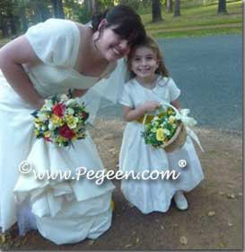 Ivory and Yellow silk flower girl dresses