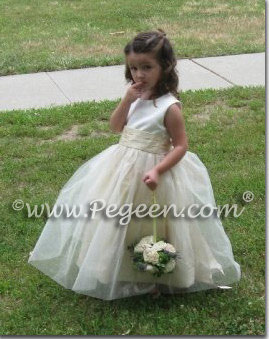 Antique White and sunflower yellow tulle and silk flower girl dresses