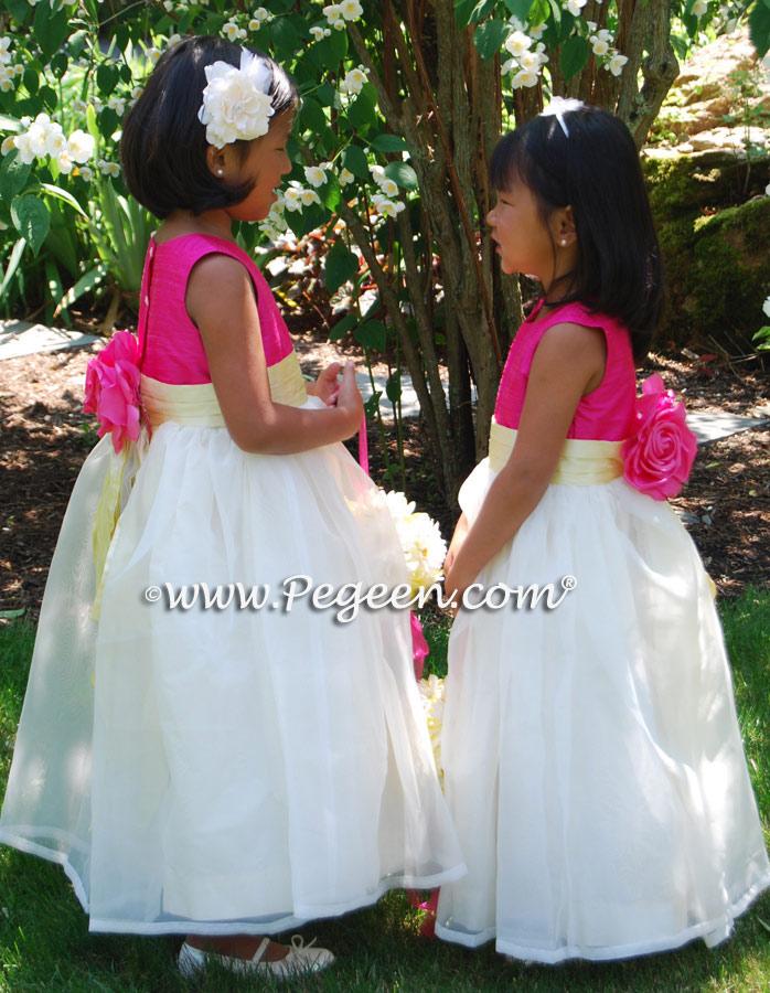 Lemonade yellow and cerise hot pink silk flower girl dresses