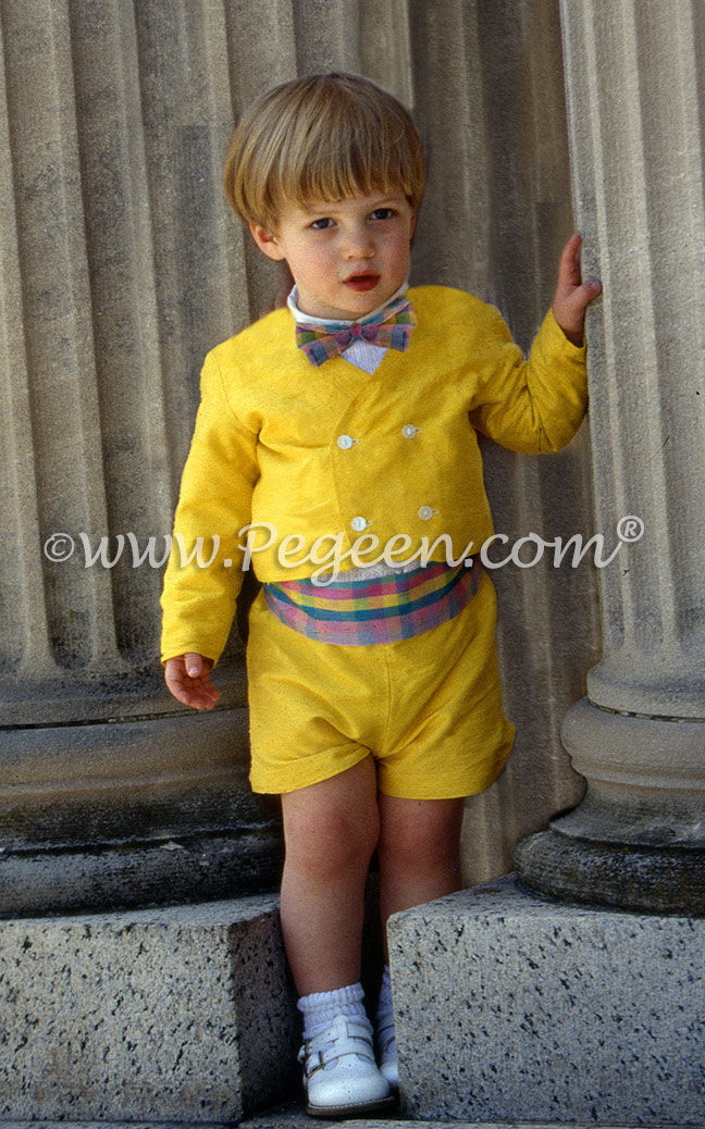 Mustard yellow and Easter plaid cummerbund set eton suit