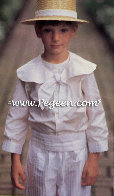 Boy's French Styled Pageboy Suit in silk seersucker
