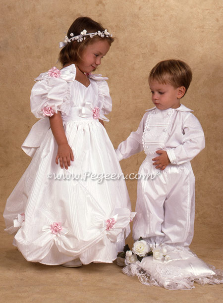 Matching taffeta Regis Flower Girl Dress - named after the Regis and Cathy Lee Show which we first produced in 1985.  Boy's Page Boy Outfit