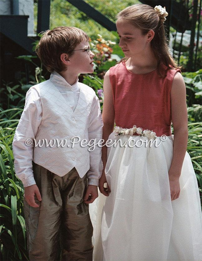 Ring Bearer and silk flower girl dress | Pegeen