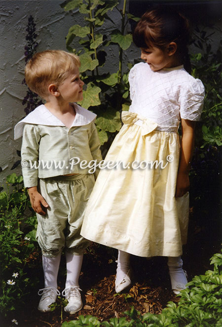 Criss Cross Trellis Silk Matching Outfits - Sailor Suit Style 240 and Flower Girl Dress Style 357