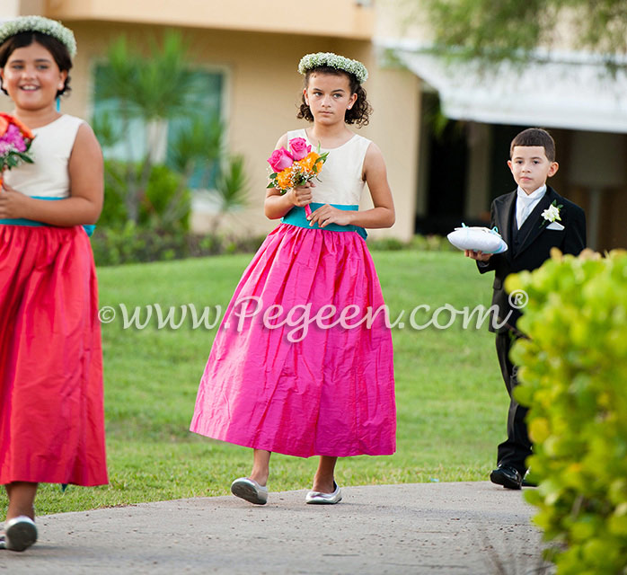 Hot pink, mango and turquoise flower girl dress