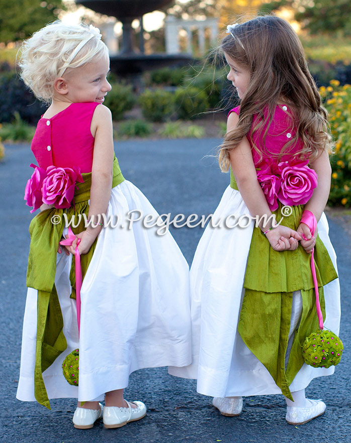 Grass green and Boing pink flower girl dress