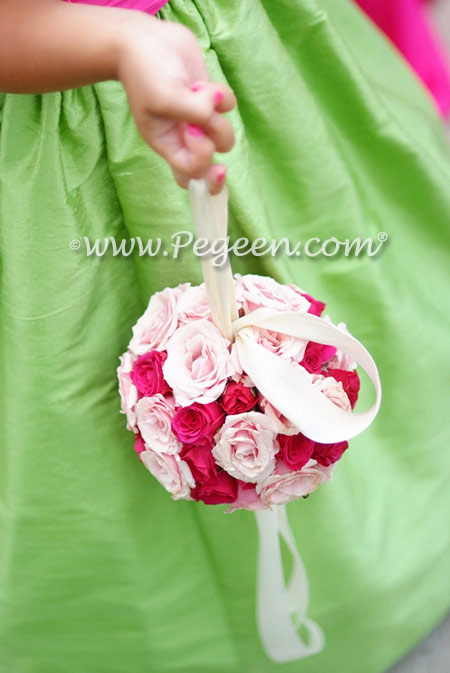 From Pegeen Classics - Girls Flower Girl Dresses in Apple Green and Shock Pink