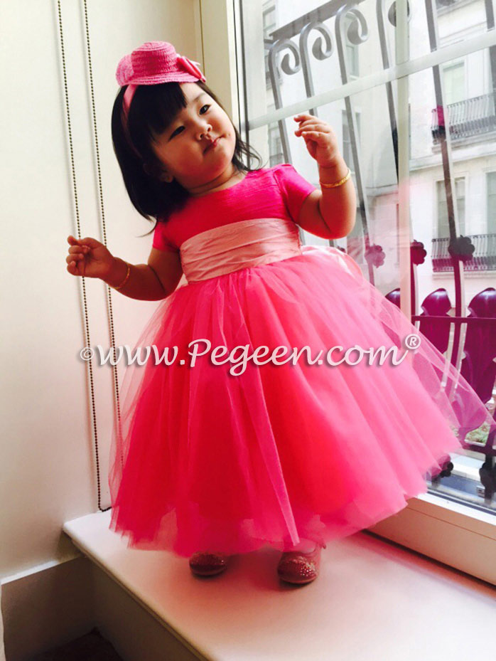 Cerise pink and cotton candy pink tulle custom silk flower girl dress